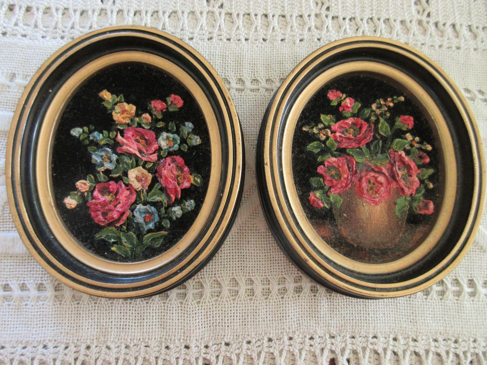 MARY MERRIEL Original Floral on Black Velvet Paintings Pair