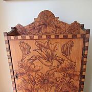 Older Vintage Flemish Art Pyrography Medicine Cabinet