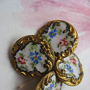 Antique Enameled Floral Buttons  Set of Four