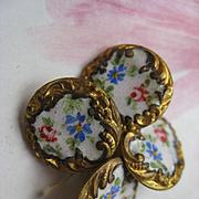 Antique Enameled Floral Buttons  Set of Four