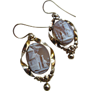 Victorian Carved Cameo Pierced Earrings in Gold Fill