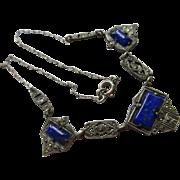 Vintage Deco 1930s Lapis Art Glass Necklace  Paper Clip Chain