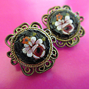 Vintage 1930s Italian Mosaic Earrings  Clip On Earrings