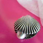 Vintage Sterling Cultured Pearl Clam Shell Charm