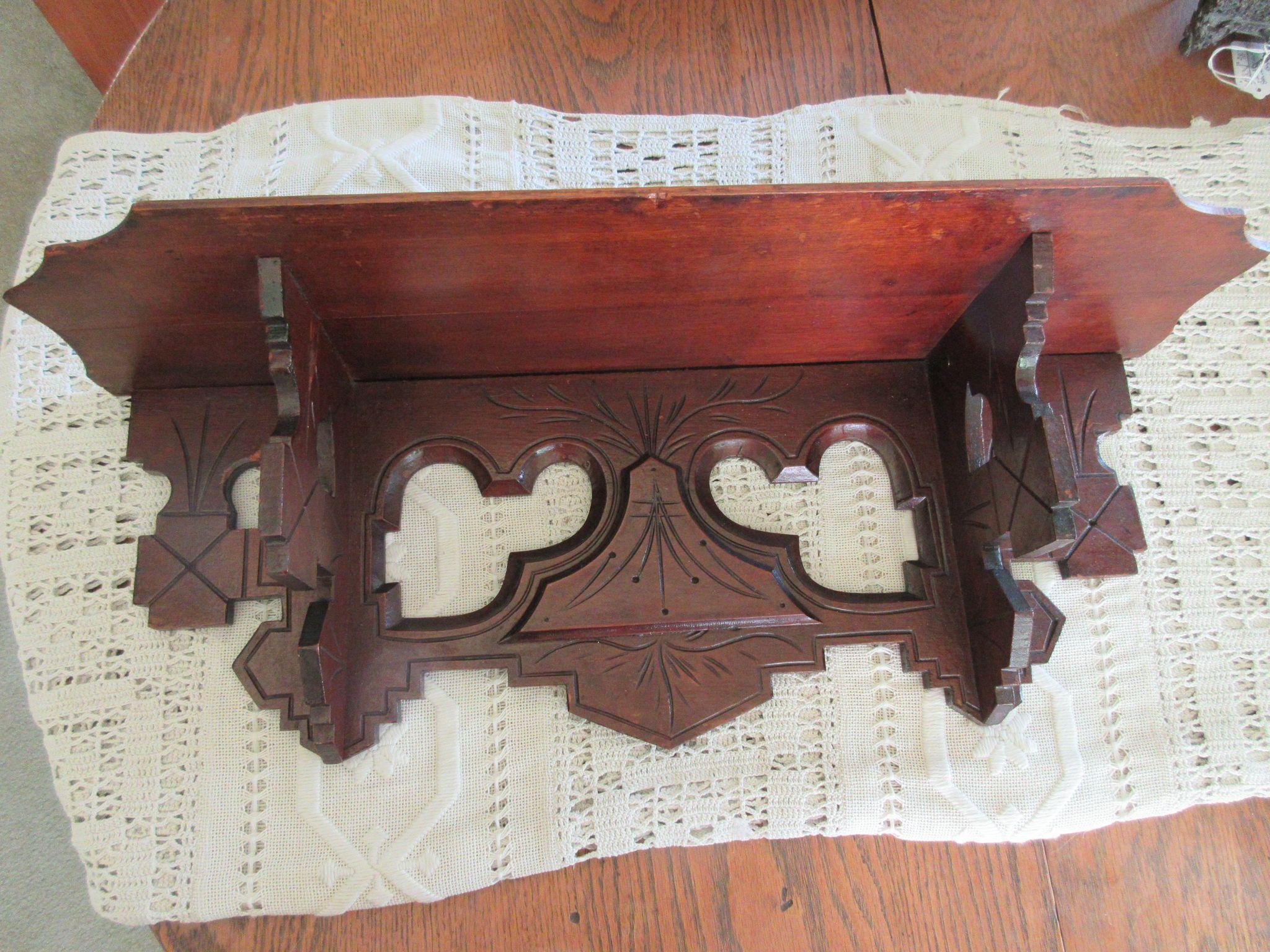 Victorian Carved Wood Clock Shelf