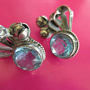 Vintage Sterling Aqua Paste Crystal Screw Back Earrings