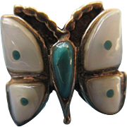 Vintage Native American Sterling Mother Of Pearl Turquoise Butterfly Ring