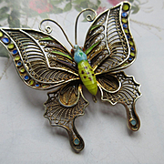 Vintage Silver Gilt Enameled Butterfly Pin