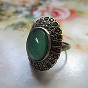 Vintage Deco Sterling Marcasite Ring