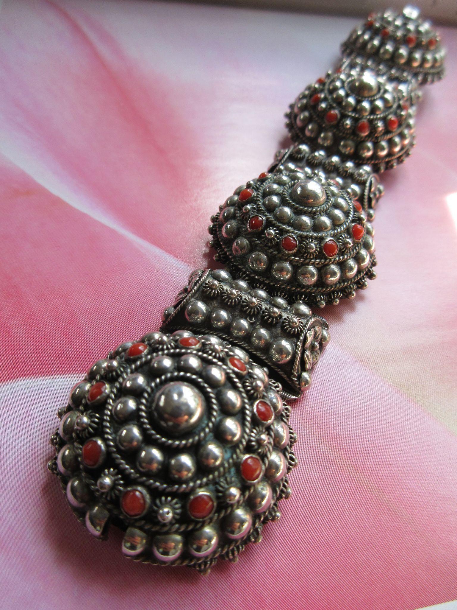 Older Vintage Circa 1920 800 Silver Cannetille Coral Bracelet European