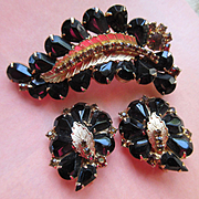 Vintage Black and Topaz Crystal Pin Unsigned Costume