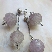 Vintage Deco Hand Carved Amethyst Pierced Earrings