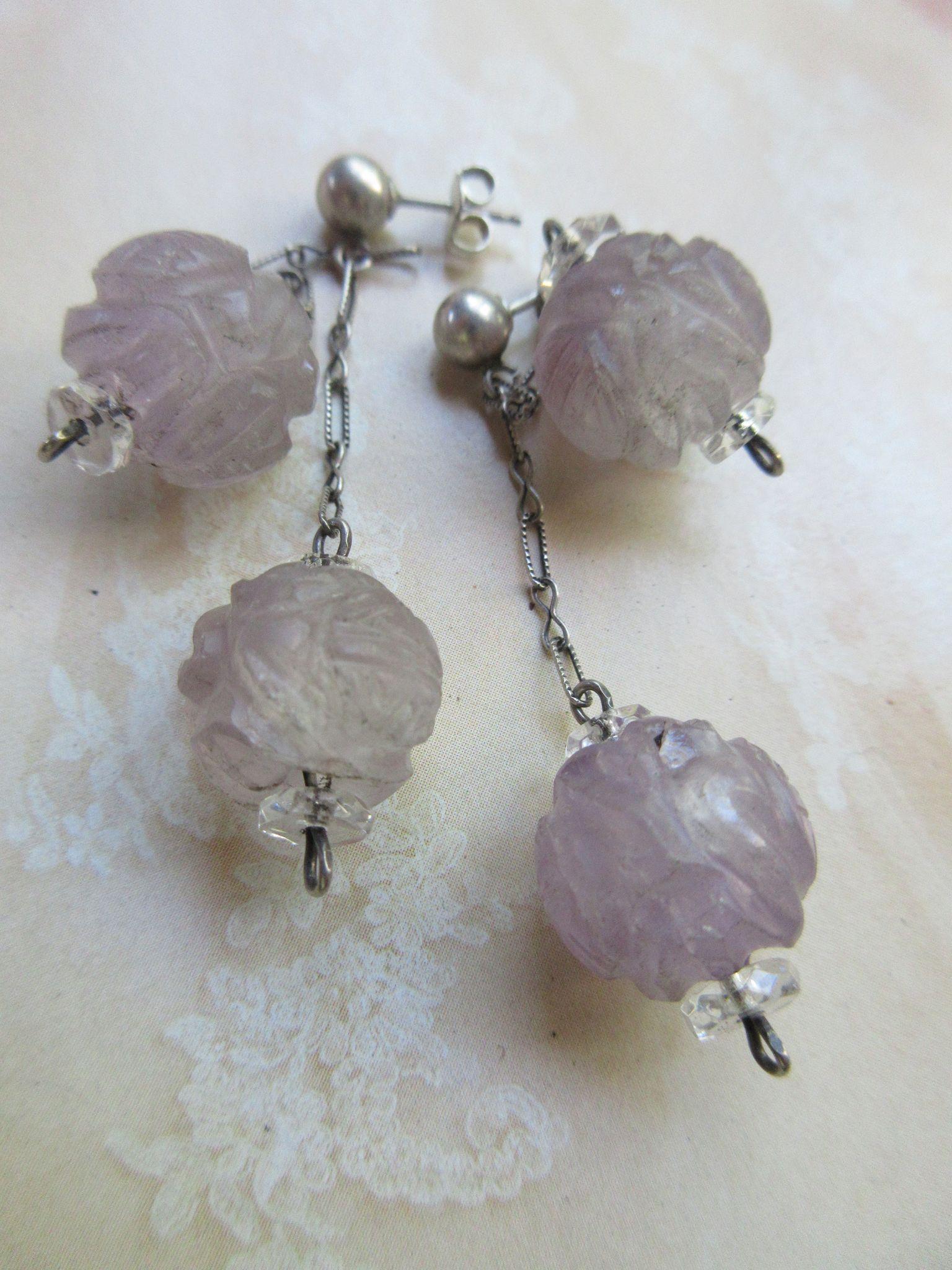 Vintage Deco Hand Carved Amethyst Pierced Earrings