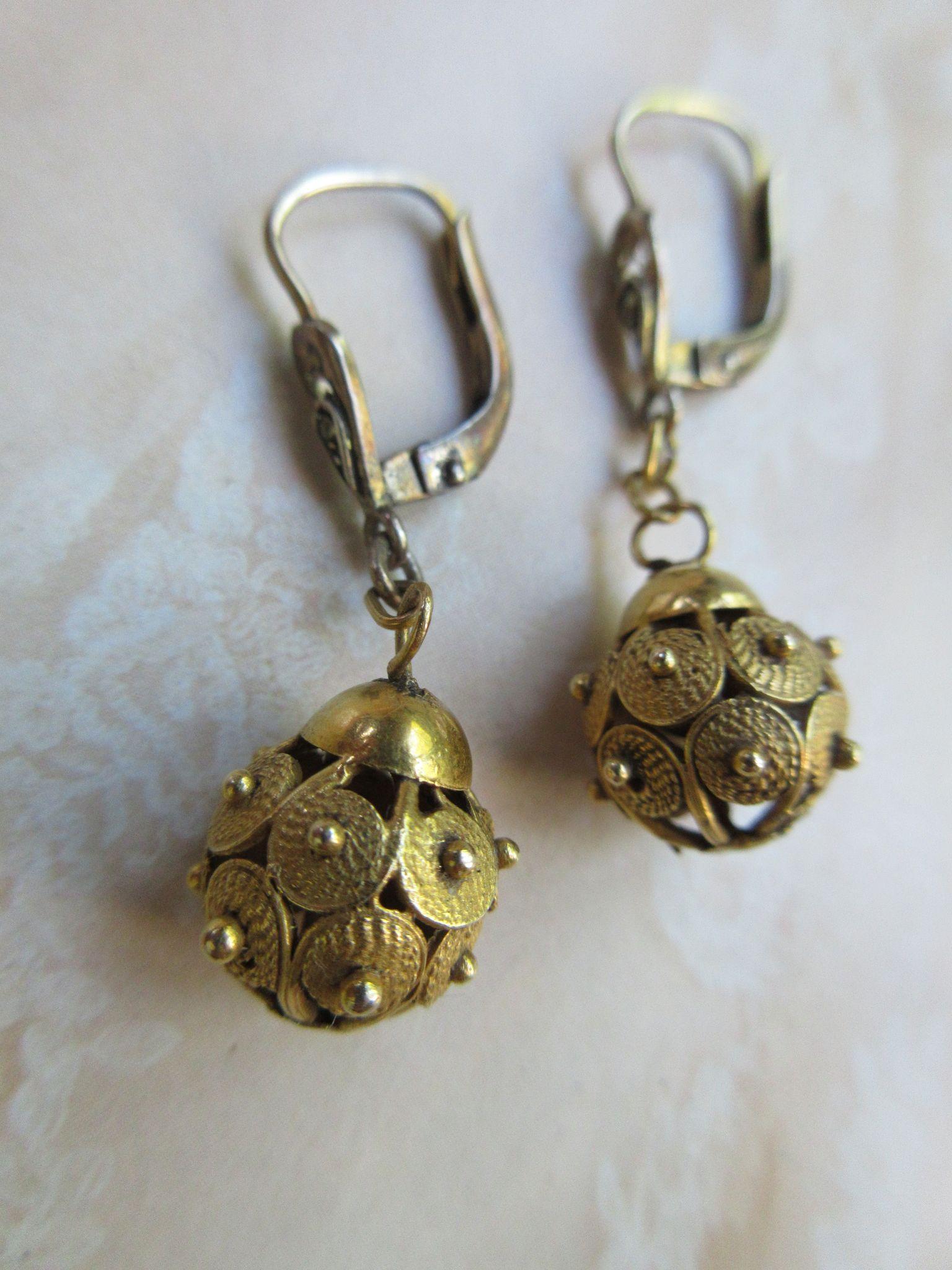 Antique Victorian Pierced Earrings Gold Fill Etruscan Revival