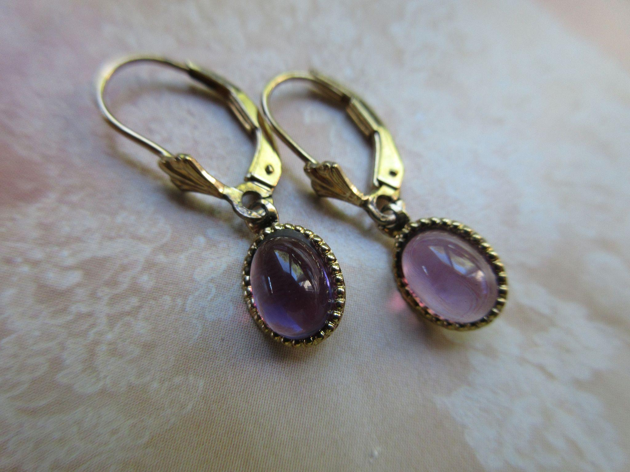 Vintage Amethyst Drop Pierced Earrings  Gold Wash Over Sterling