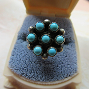 Vintage Native American Petit Point Turquoise Sterling Ring
