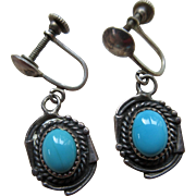 Vintage Sterling Native American Screw Back Earrings