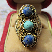 Vintage 1920's Chinese Import Silver Filigree Ring Lapis and Turquoise
