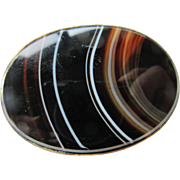 Antique Victorian Banded Agate Brooch