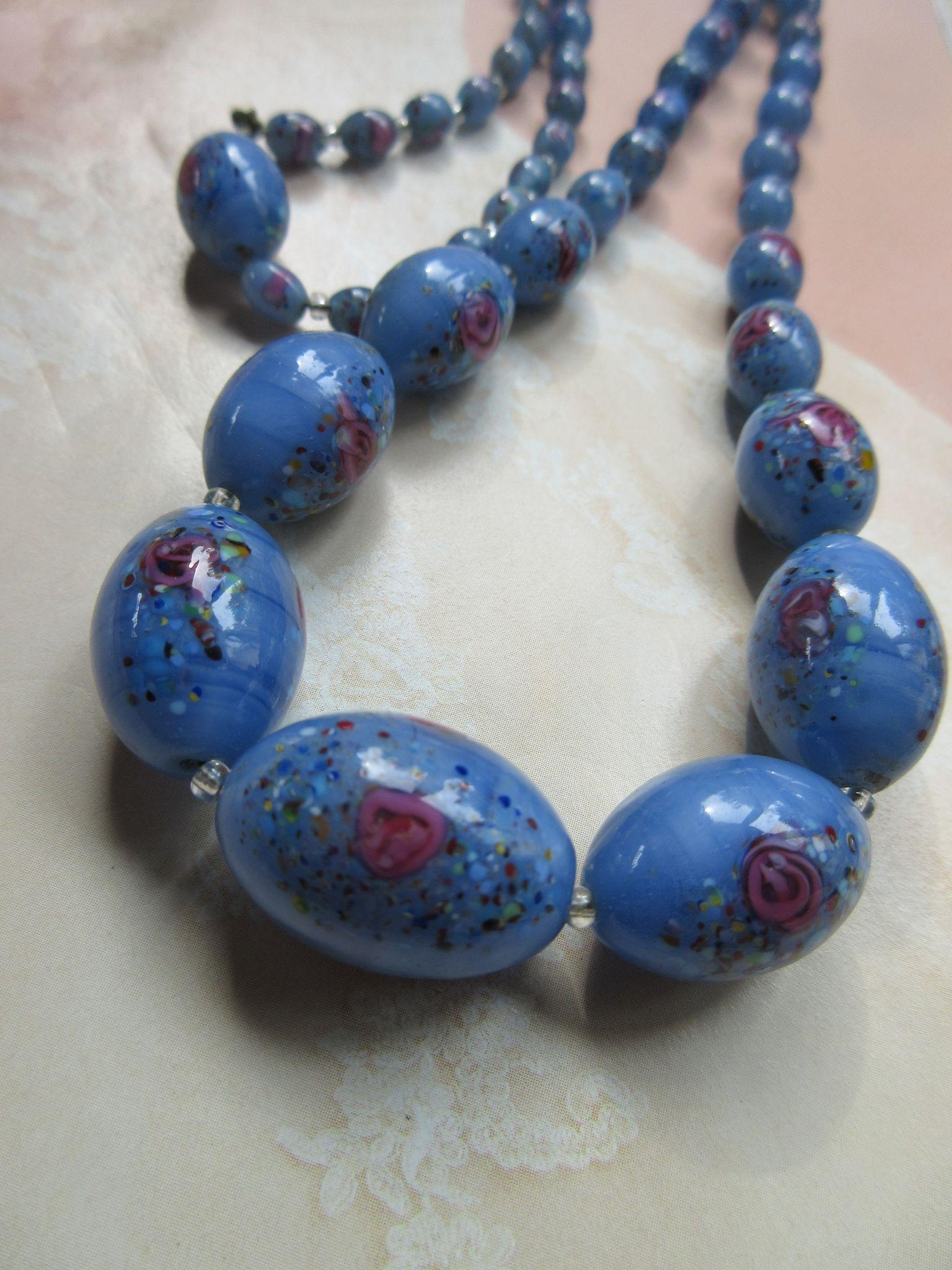 Vintage Blue Glass Beaded Necklace Pink Rose