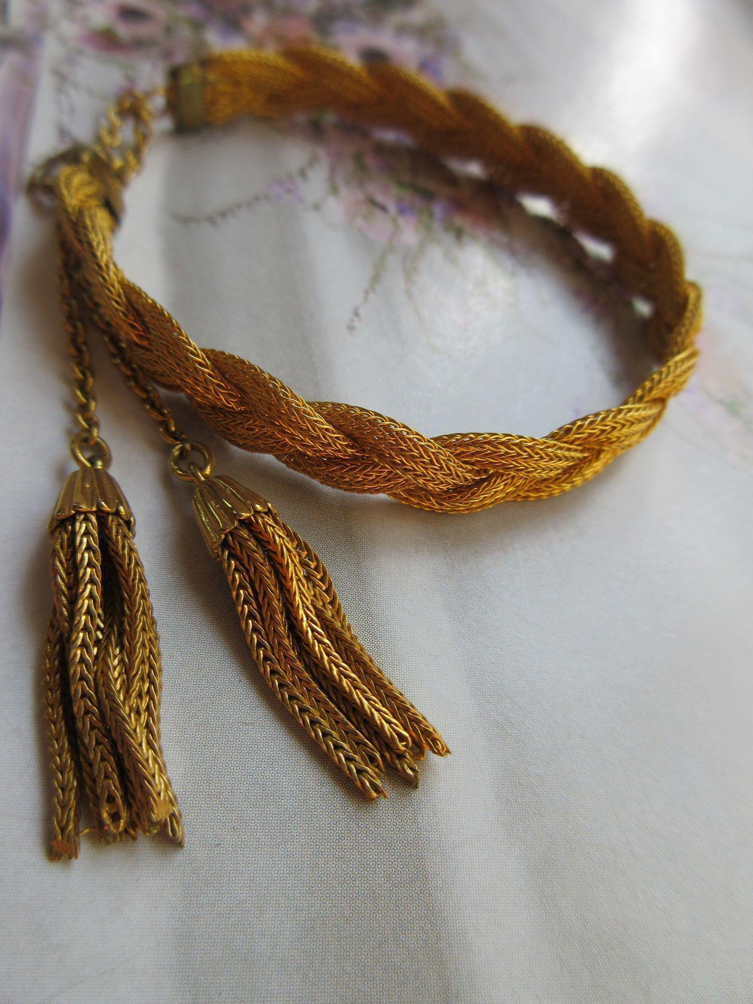 Vintage Circa 1920 Woven Gold Fill Tassel Bracelet