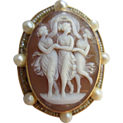 Antique 14K Cameo Pin Pendant   The Three Graces