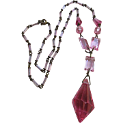 Cintage 1930s Czech Pink Crystal Drop Necklace