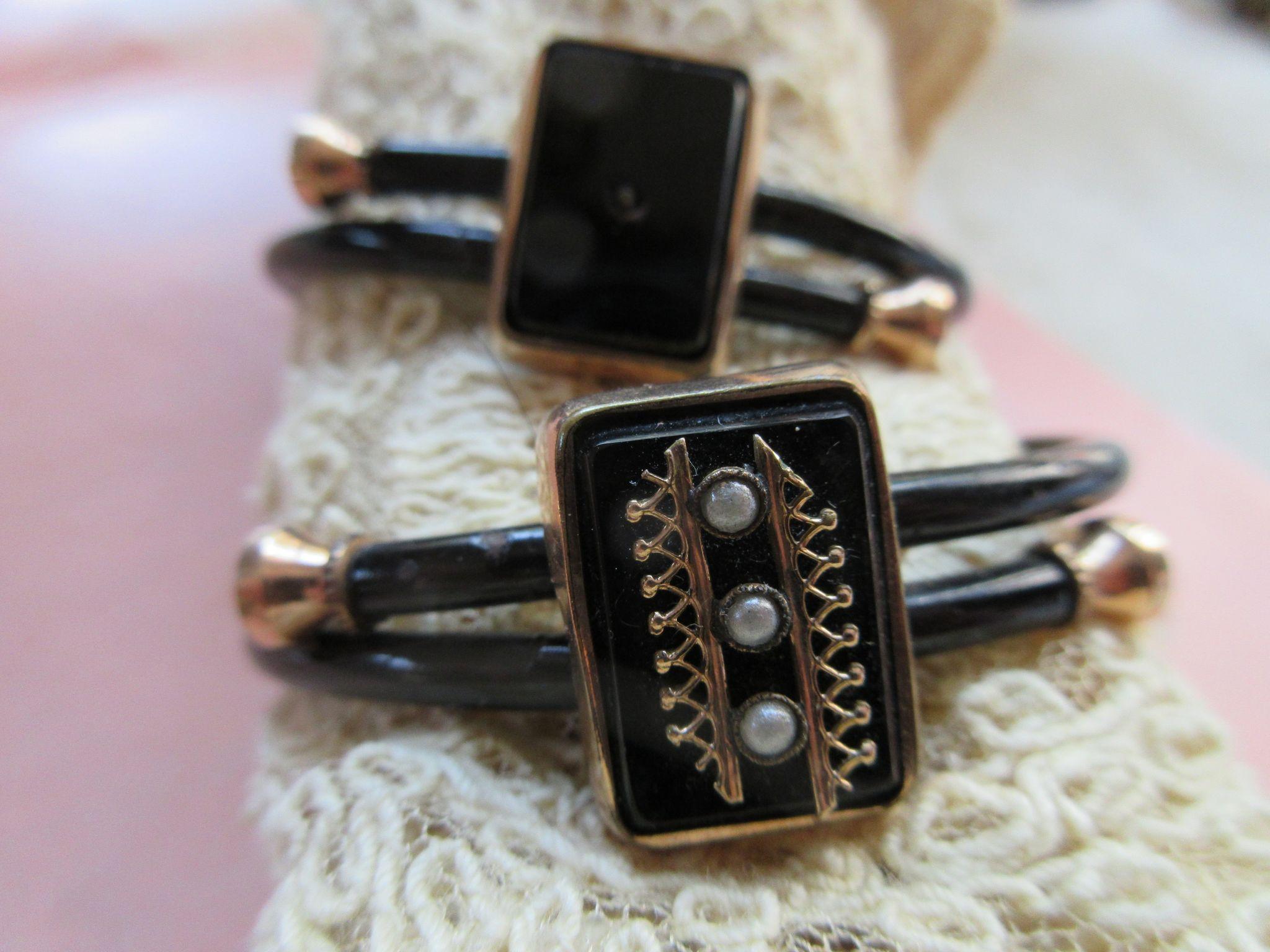 Victorian 1879 Pair Black Enameled Gold Fill Bracelets