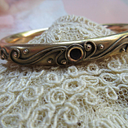 Antique Art Nouveau Jeweled Bangle Bracelet in Gold Fill