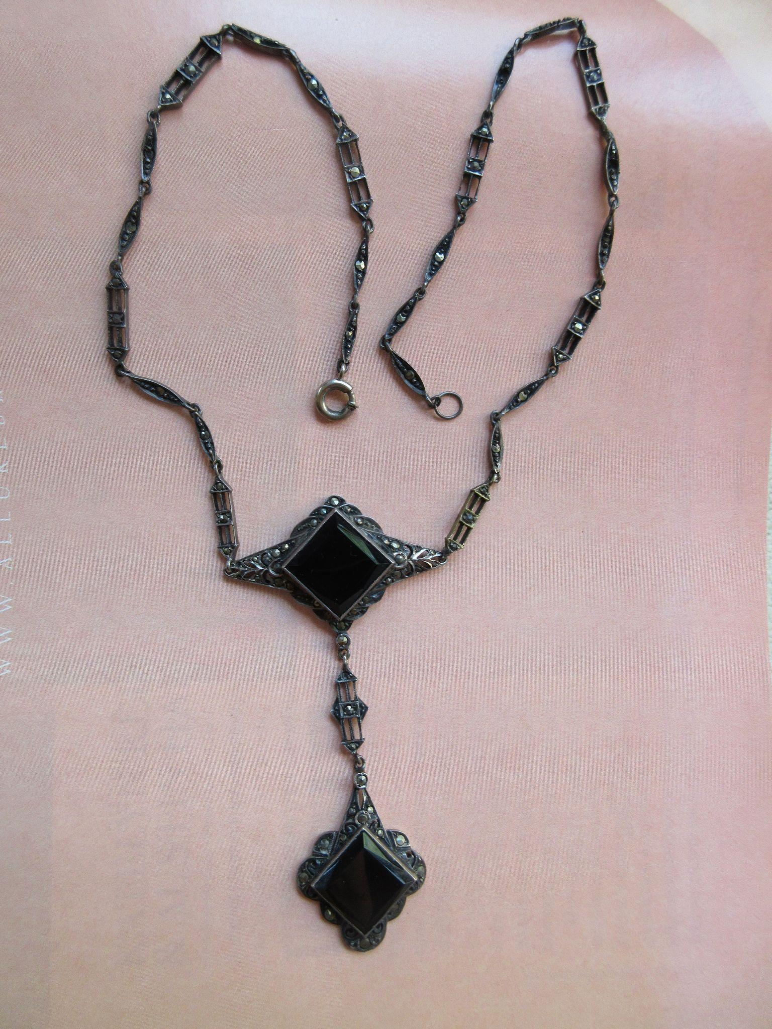 Vintage 1920s Sterling Marcasite Necklace Germany