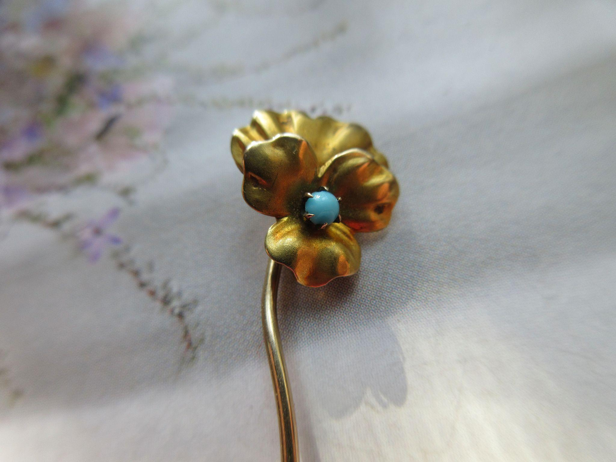 Antique 10K Gold Pansy Stick Pin Persian Turquoise
