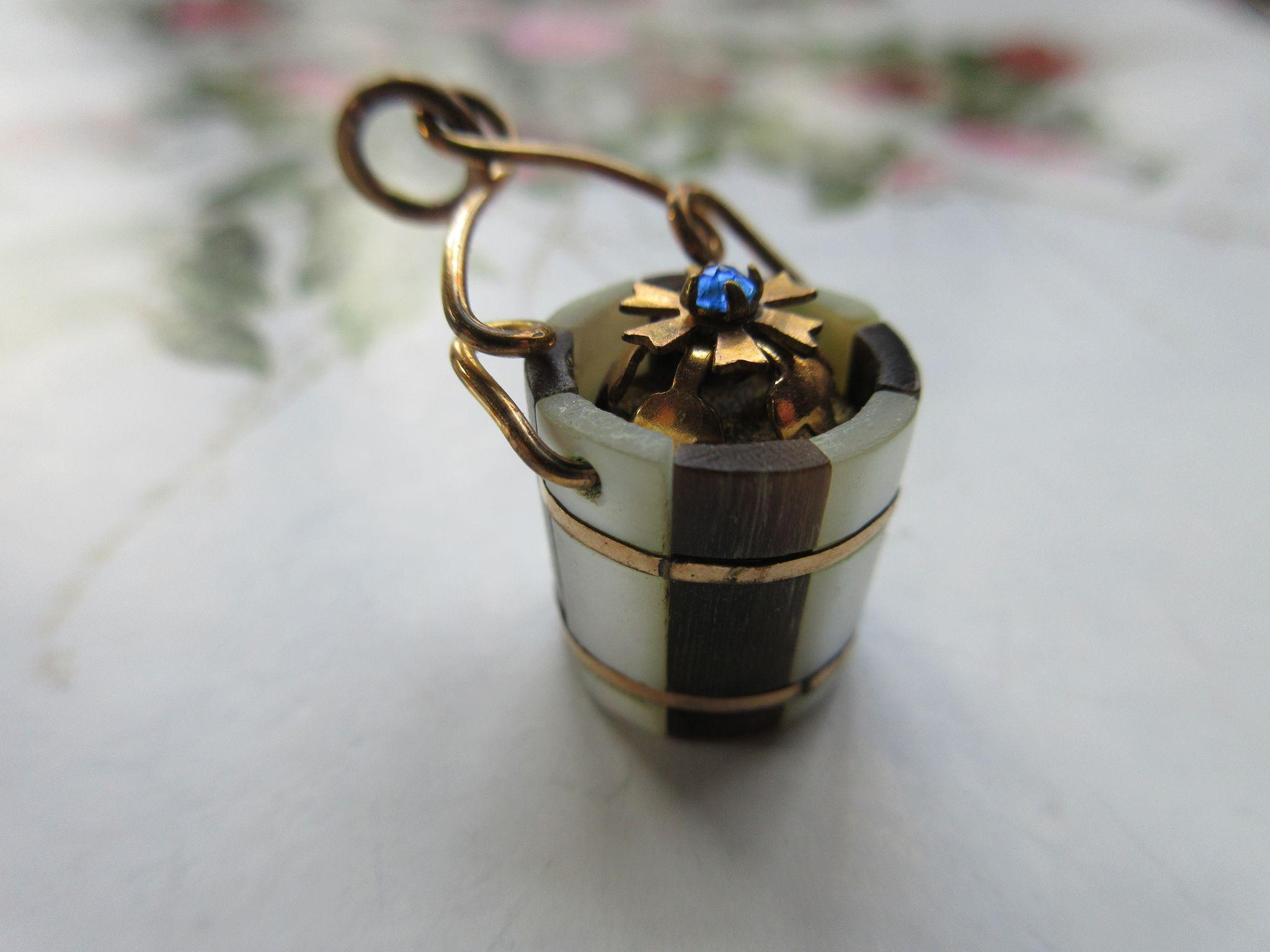 Victorian Watch Fob Charm Mother Of Pearl Bucket