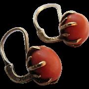 Victorian 10K Coral Pierced Earrings