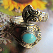 Vintage Sterling Towle Old Master Turquoise Spoon Ring