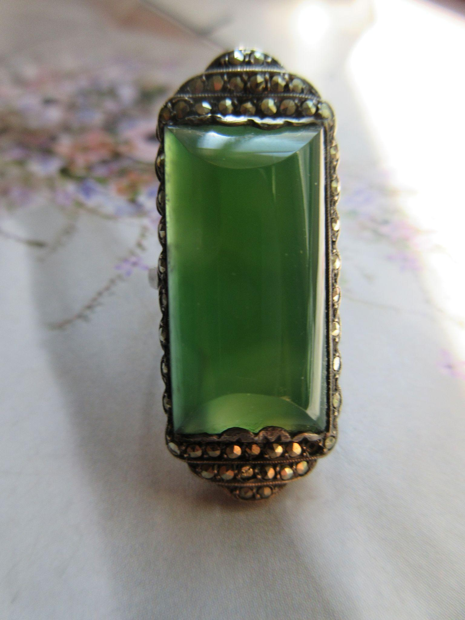 Vintage Deco 1920s Sterling Marcasite Ring