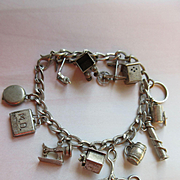 Vintage Sterling Charm Bracelet Enameled Mechanical