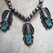 Vintage Native American Sterling Turquoise Necklace