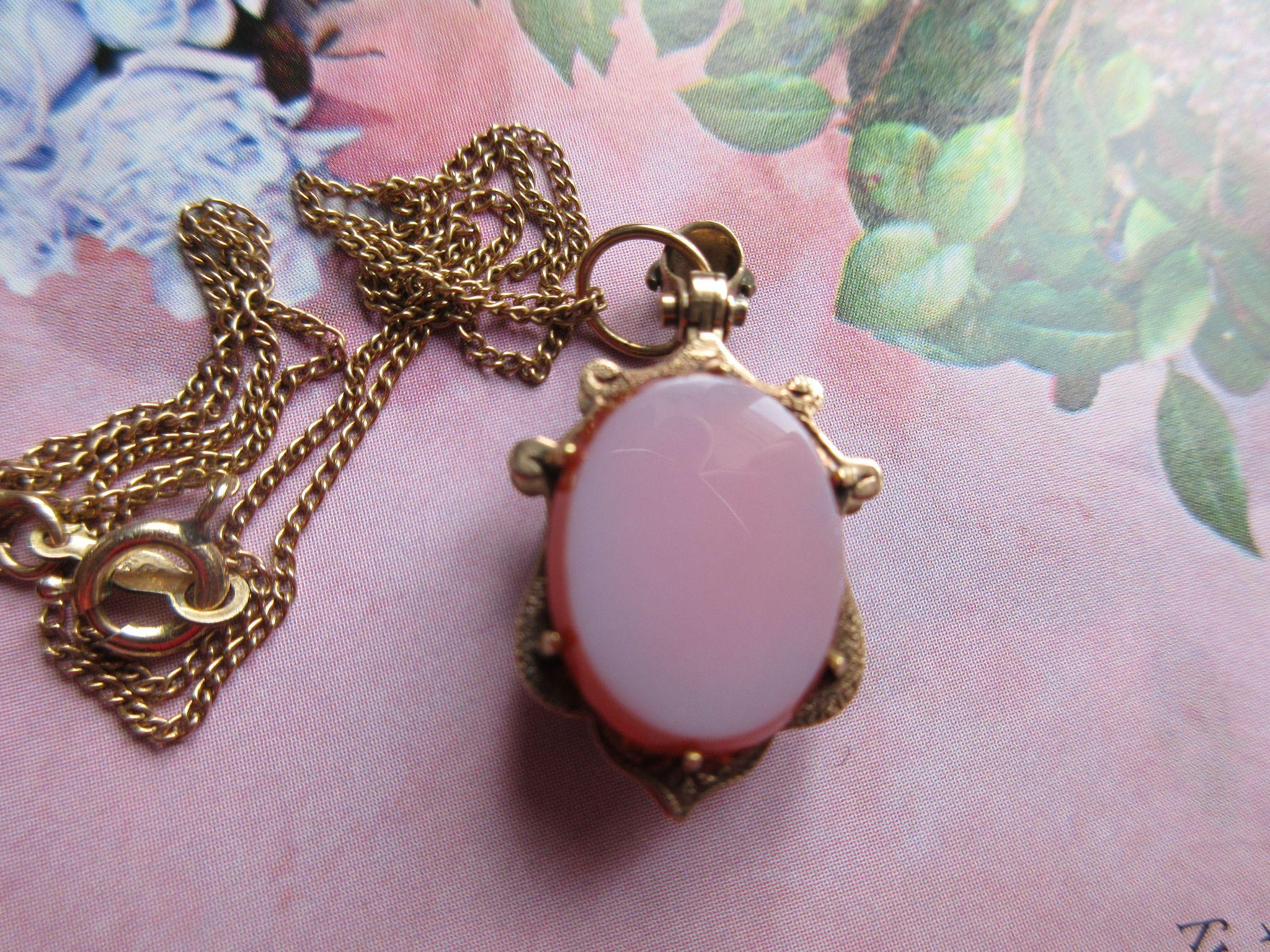Victorian 10K Agate Locket on Gold Fill Chain Necklace