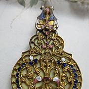 Victorian Dance Card Aide Memoir Enameled Ormolu Pendant