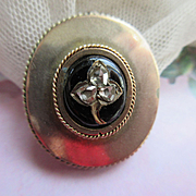 Victorian 10K Rose Cut Diamond Enameled Pin