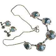 Vintage 30s 40s Open Back Crystal Necklace and Screw Back Earrings in White Gold Fill
