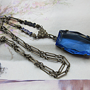 Vintage Deco 1920s Lavaliere Y Necklace  Something Blue