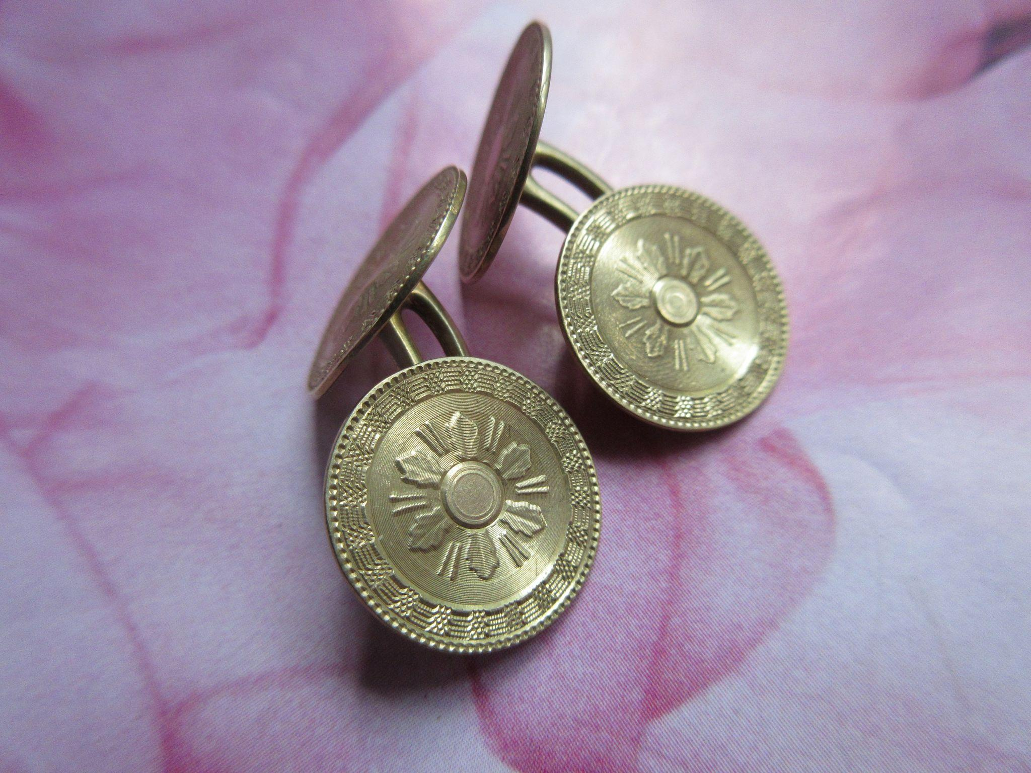 Antique 10K Cufflinks Double Cuff Buttons