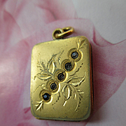Antique Paste Locket with Foliate Design in Gold Fill