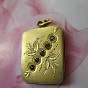 Antique Paste Locket with Foliate Design in Gold Fill
