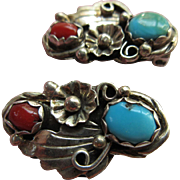 Vintage Navajo Native American Clip On Earrings Sterling Turquoise Coral