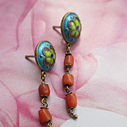 Asian Silver Gilt Enameled Coral Pierced Earrings