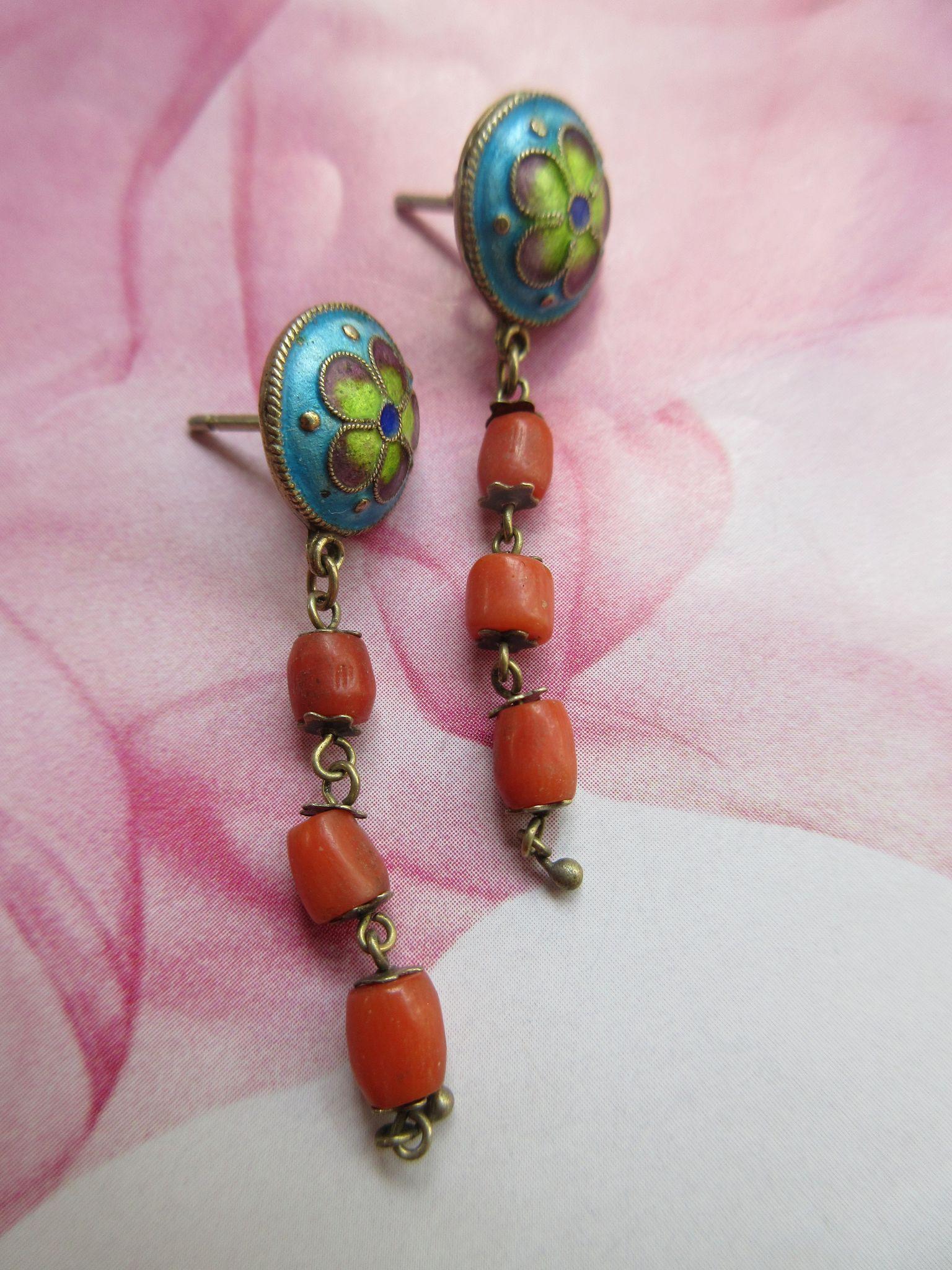 Asian Silver Gilt Enameled Coral Pierced Earrings