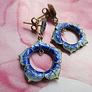 Vintage Enameled Silver Gilt Pierced Earrings