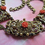 Vintage Victorian Revival Marcasite Book Chain Necklace
